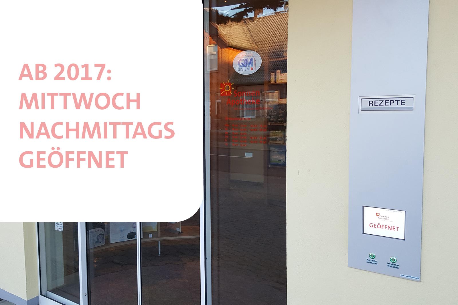 Ab 2017: Mittwochnachmittags geöffnet