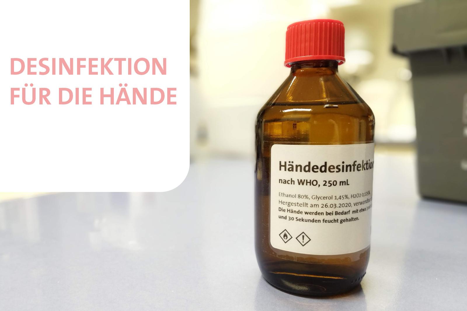 Händedesinfektionsmittel hergestellt